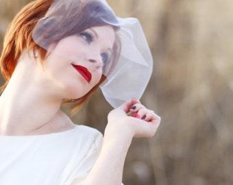 Tulle birdcage veil, bridal birdcage, white ivory tulle birdcage veil, tulle birdcage, bridal head piece