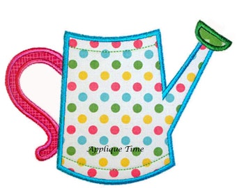 Instant Download Watering Can Machine Embroidery Applique Design 4x4, 5x7 and 6x10