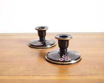 Hand-Painted Black Glass Candlesticks, Candle Holders, Black Milk Glass