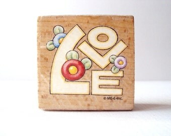 Love Wooden Mounted Rubber Stamping Block DIY cards, scrapbooking, tags, Invitations, and Greeting Cards by Me E Inc