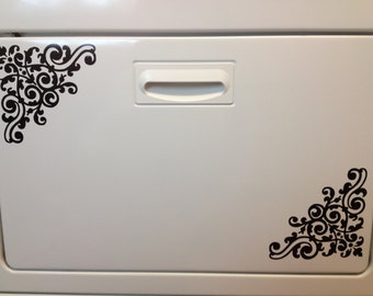 Appliance Art Damask Decal for Kitchen or Other Decor in Size 6X6