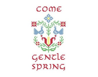 Come Gentle Spring Cross Stitch Pattern PDF Birds and Flowers in Primary Colors