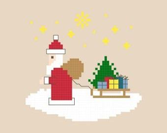Here Comes Santa Claus Cross Stitch Pattern PDF
