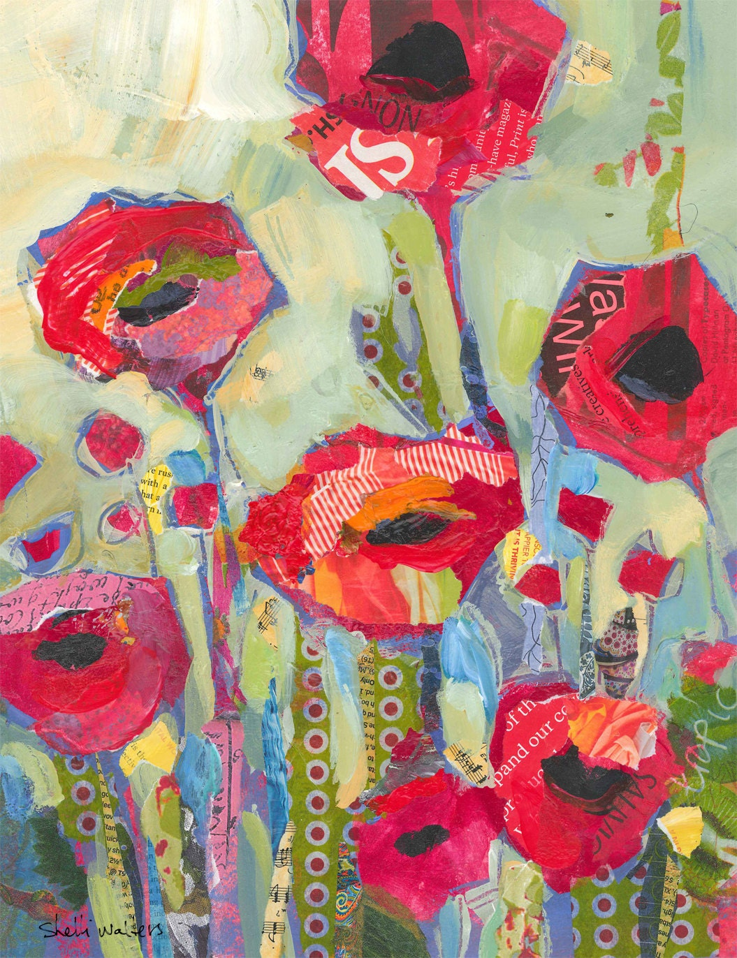 Poppies red flowers original painting for Art sites like etsy
