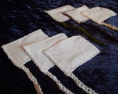 Organic Reusable Cloth Tampons--- Set of 5, 10, or 20--- Small/Mini Lite--- Cotton Flannel, Crocheted Cotton String