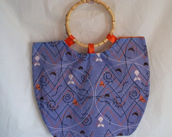 Retro Blue Purse with Ring Handles