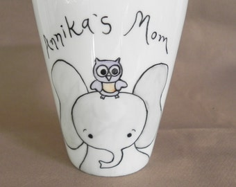 Elephant with owl, custom hand painted white porcelain mug with handle mother's day gift for mom