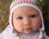 0-3 months Crocheted Photo Prop Girl Pink, Green, and White 14 in. Hat - IN STOCK