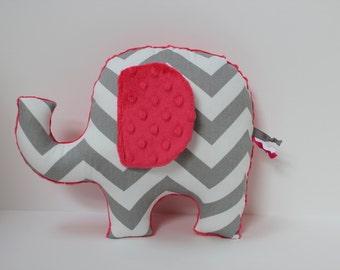 Gray bright pink Chevron Elephant nursery pillow toy ELLE plush for modern baby