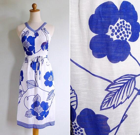 Vintage 70's Striped V Neck Floral Print Sun Dress XS