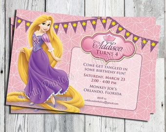 Tangled Invitation, Tangled Birthday Party Invitation, Rapunzel Invitation, Rapunzel Birthday Party Invitation, Printable Tangled Invites