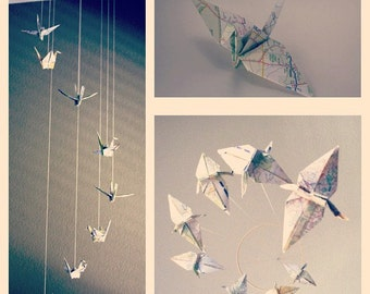 Upcycled Atlas Spiral Origami Crane Mobile