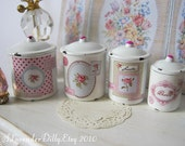 Shabby Rose Canisters for Dollhouse 1/12 Scale