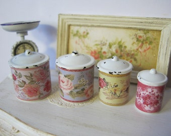 Floral Canisters for Dollhouse 1/12 Scale