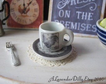 Black Toile Country Rooster Coffee Mug and Plate for Dollhouse