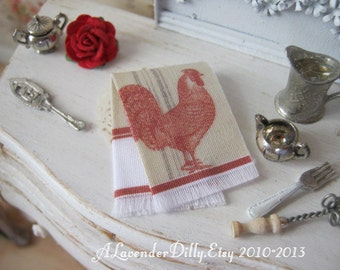 Red Rooster Fringed Tea towel for Dollhouse, 1:12 scale