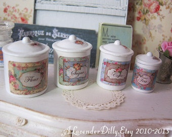 Vintage Label Dollhouse Kitchen Canisters 1/12 Scale