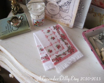 Vintage Cherry Fringed Tea Towel for Dollhouse, 1:12 scale