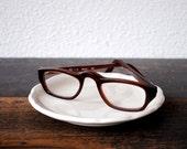 Vintage Designer Eyeglasses, Thick Frame POCO 1960s Brown Eye Glasses