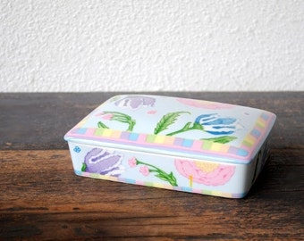 Horchow Porcelain Trinket Box, Cigarette Dresser Jewelry Holder, Pastel Flower Vintage Vanity Collectible