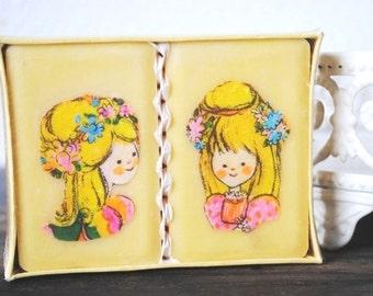 Vintage Soapdish Soap Bar Vanity Set, Hand Decorated Little Girl Blonde Permanent Design, Original Box NOS
