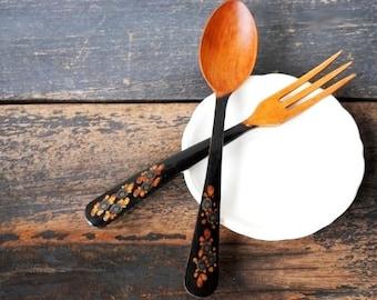 Vintage Japanese Teak Wood Utensil Set, Fork & Spoon Black Lacquer Handle Salad Servers, Gold Silver Flowers