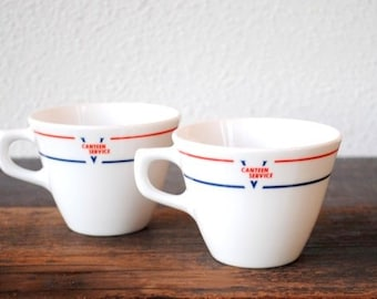 Vintage Military Coffee Cup Set, Pinstripe Red White Blue USA Issue Service Ware Corning