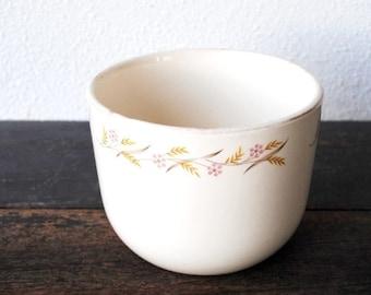 "Universal Ballerina Large Refrigerator Jar Bowl Dish, ""Harvest"" Gold & Pink Flowers 2 Ounce Ovenproof Vintage China"