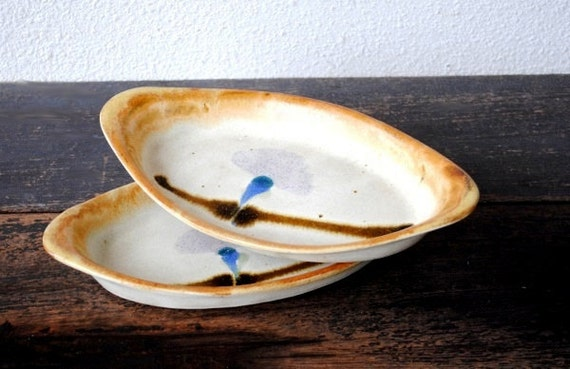 Stone Baking Dish : Vintage stoneware baking dish gratin serving set