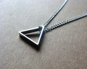 Silver Triangle Necklace on Silver Chain Minimalist