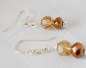 Amber crystal earring - jewelry - earring - dangle - drop - silver - topaz rondelle - delicate earring - wire wrap - elegant earring