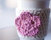 Crochet Coffee Cozy - Cream with Pink Flower - Coffee Sleeve