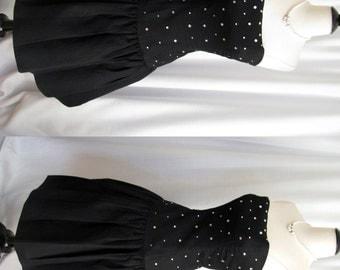 Vintage 1980s does 50s Dress - Morton Myles Neiman Marcus Black Dress w/ Rhinestones XS