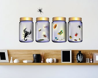 Insects in Four Glass Bottles Scorpion Ants Bugs Butterflies Bee Wasp Arachnid Spider Grasshopper Wildlife Wall Decal 30x10 larg291