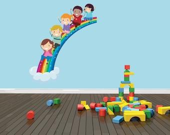 PRESCHOOL CLASSROOM Children Boy Girl Kid Sliding Down Colorful Rainbow Picture Art Peel & Stick Sticker Wall Decal  18x48 Color 529
