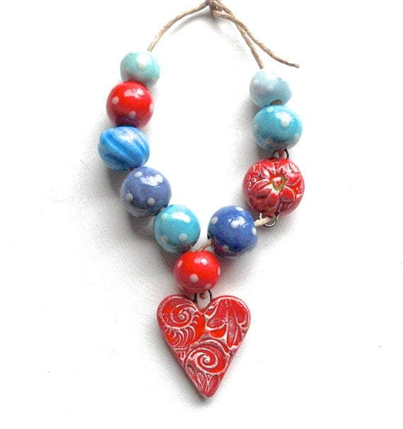 RESERVED FOR BEADYDAZE....Handmade Ceramic  Bead Set with Filigree Texture Heart  Charm in Red and Turquoise