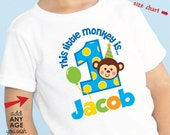 Boy Monkey Birthday Shirt or Monkey Bodysuit - Personalized with child's name &  age