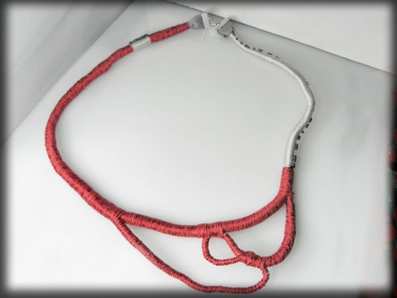 assimetrical fiber rope necklace OOAK red gray designer gift for her mom