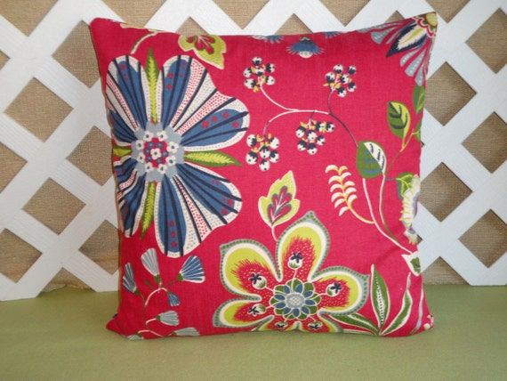 Floral Pillow Cover In Red Blue And Yellow / By