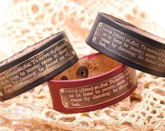 Leather Bracelet Etched Copper Dance Definition
