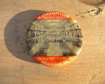 scarce early 1920s NATATORIUM swimming pools ADVERTISING POCKET mirror reading pa   free shipping