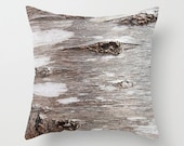 Tree Bark - Gray - Beige - Grey - Rustic - Nature - Earthy - Throw Pillow Cover