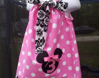 Handmade pillowcase dress damask pink polka dot minnie mouse free hairbow size 3mos 6y