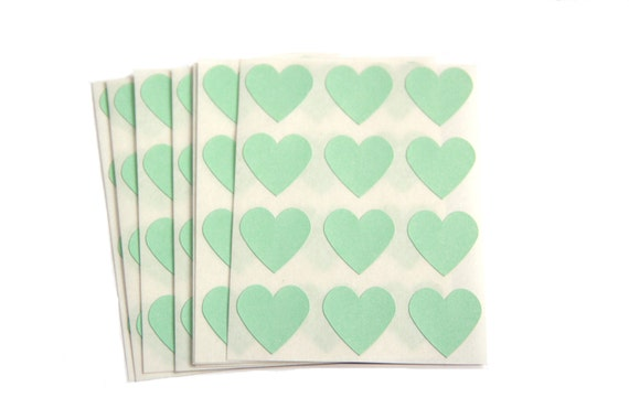 100 Small Mint Green Heart Stickers - Pastel Green Blank Labels - Envelope Seals - Craft Supplies - DIY Paper Goods