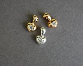 3pc Rhinestone Heart Charms