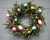 LAST ONE! - Easter Egg Wreath - Boxwood  - Spring Wreath - Easter Wreath - Pastel Easter Egg Wreaths -  Easter Home Decor