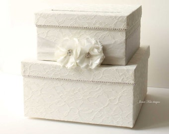 Laced Wedding Card Box, Money Card Box- Custom Made to Order