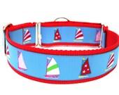 """Summer Dog Collar 1.5"""" Nautical Dog Collar Sailboats"""