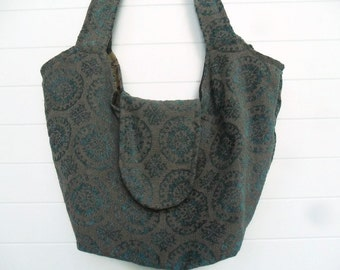 Bohemian Gypsy Bag Purse Aqua Teal Suzani Cut Chenille