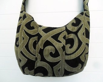 Gothic Bohemian Bag Purse Black and Taupe Cut Velvet